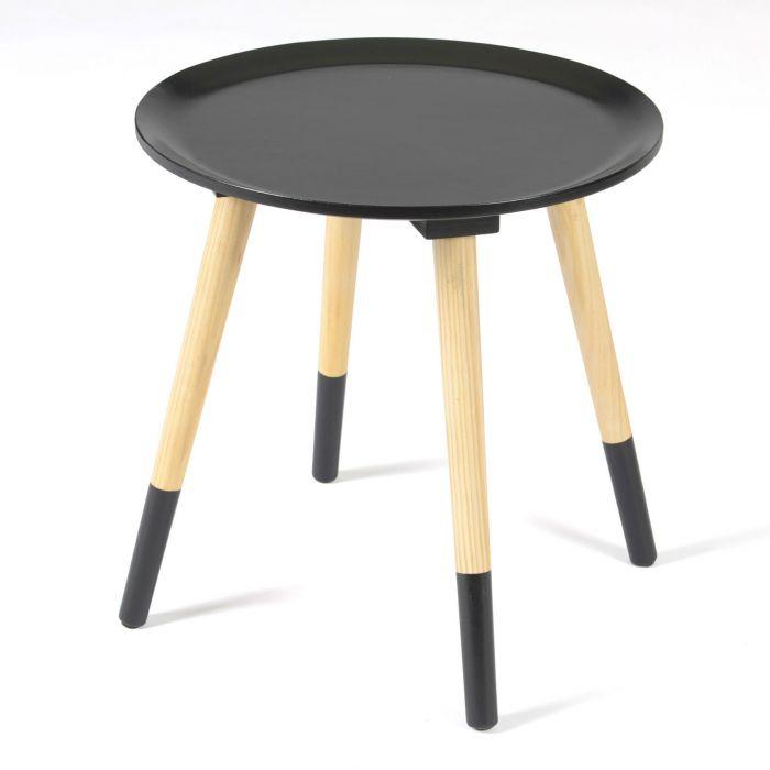 Table d'appoint en bois ronde bicolore noir OLSO
