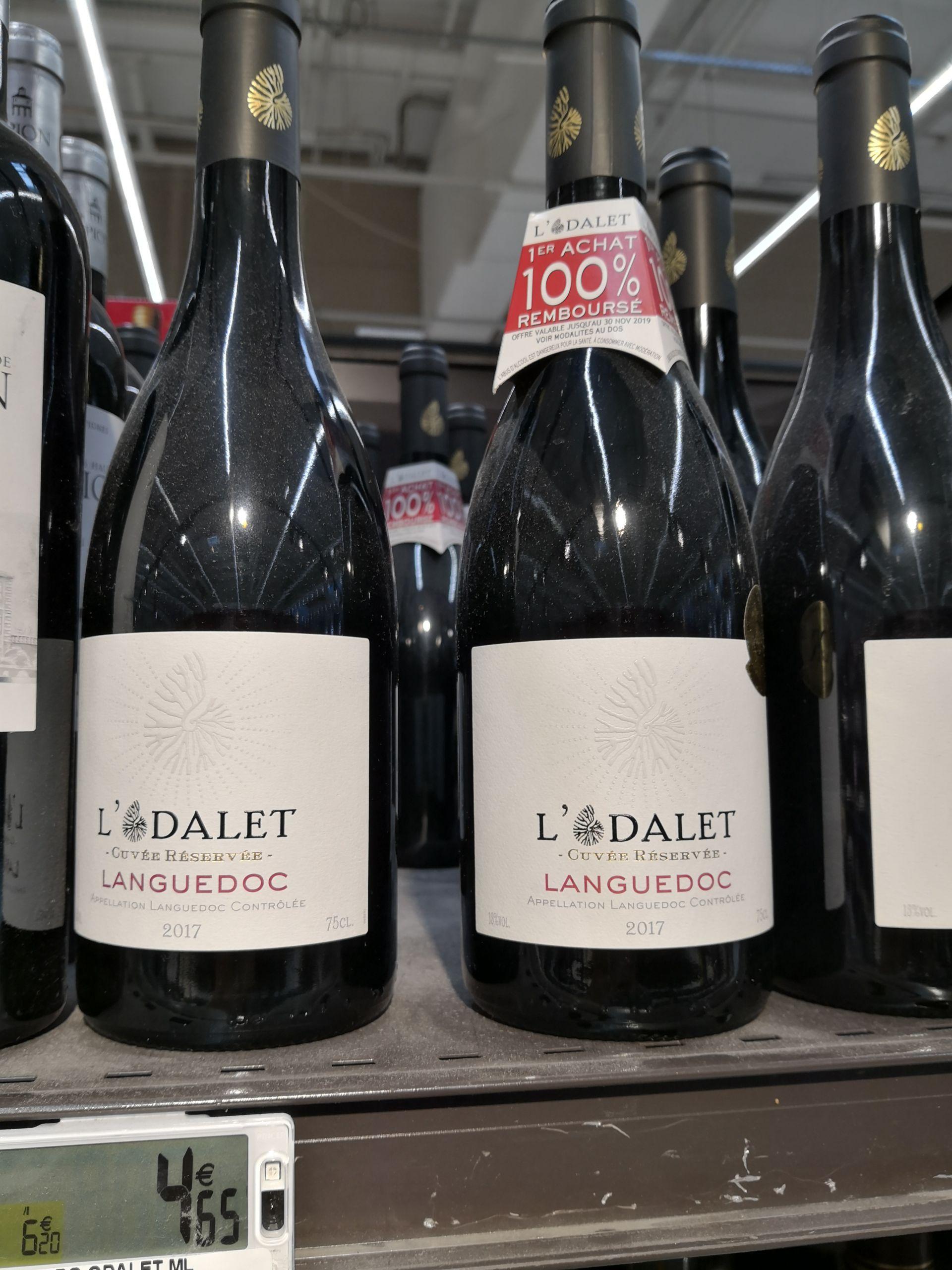 Bouteille de vin du Langueloc L'Odalet cuvée 2017 Gratuite (via ODR) - Athis-Mons (91)