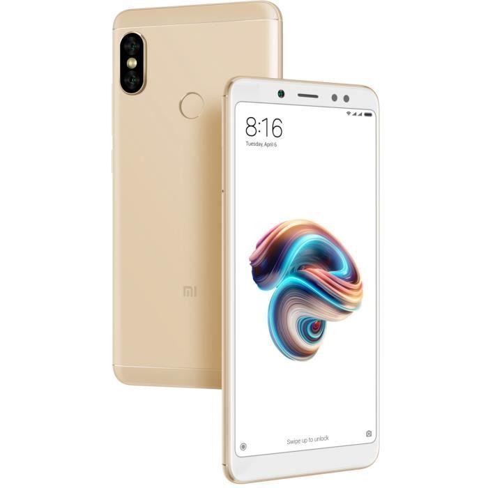 "Smartphone 5.99"" Xiaomi Redmi Note 5 (Or) - Full HD+, Snapdragon 636, RAM 4 Go, ROM 64 Go (Via ODR de 40€)"