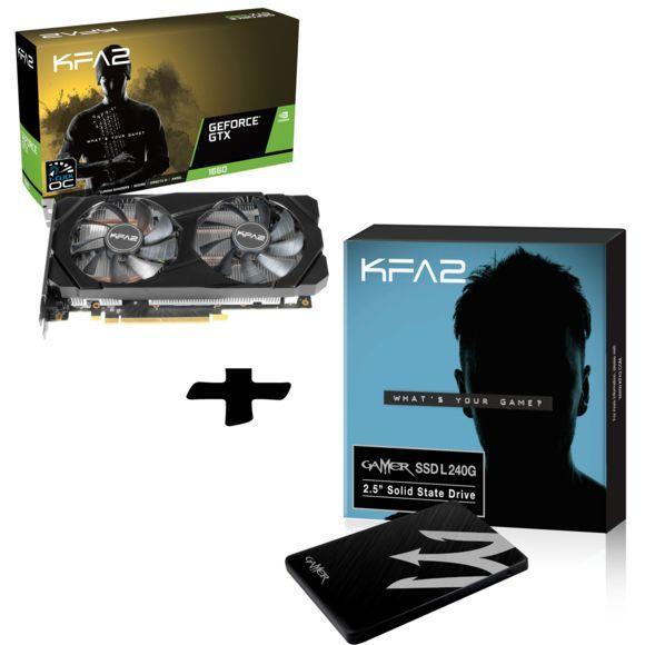 Carte graphique KFA2GeForce GTX 1660 1-Click OC 6 Go GDDR5 + SSD Gamer 240 Go