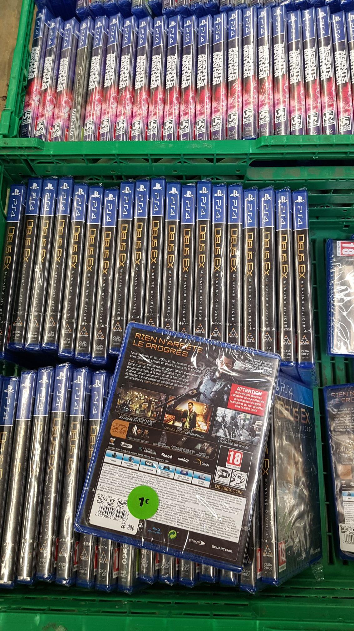 Sélection de jeux-vidéo à 1€ - Ex: Deus Ex Mankind Divided sur PS4 (Chateau-thierry 02)