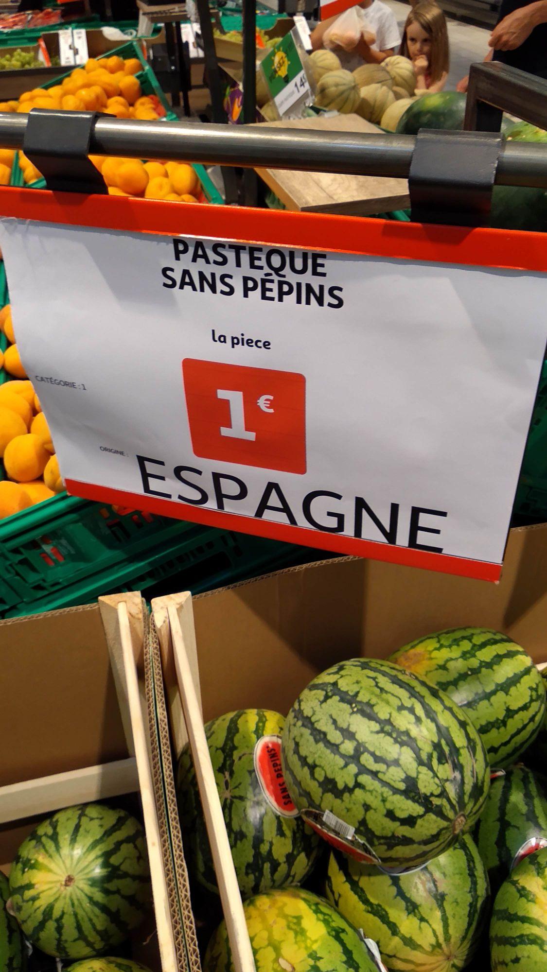 Pastèque sans pépins Origine Espagne - Calais (62)