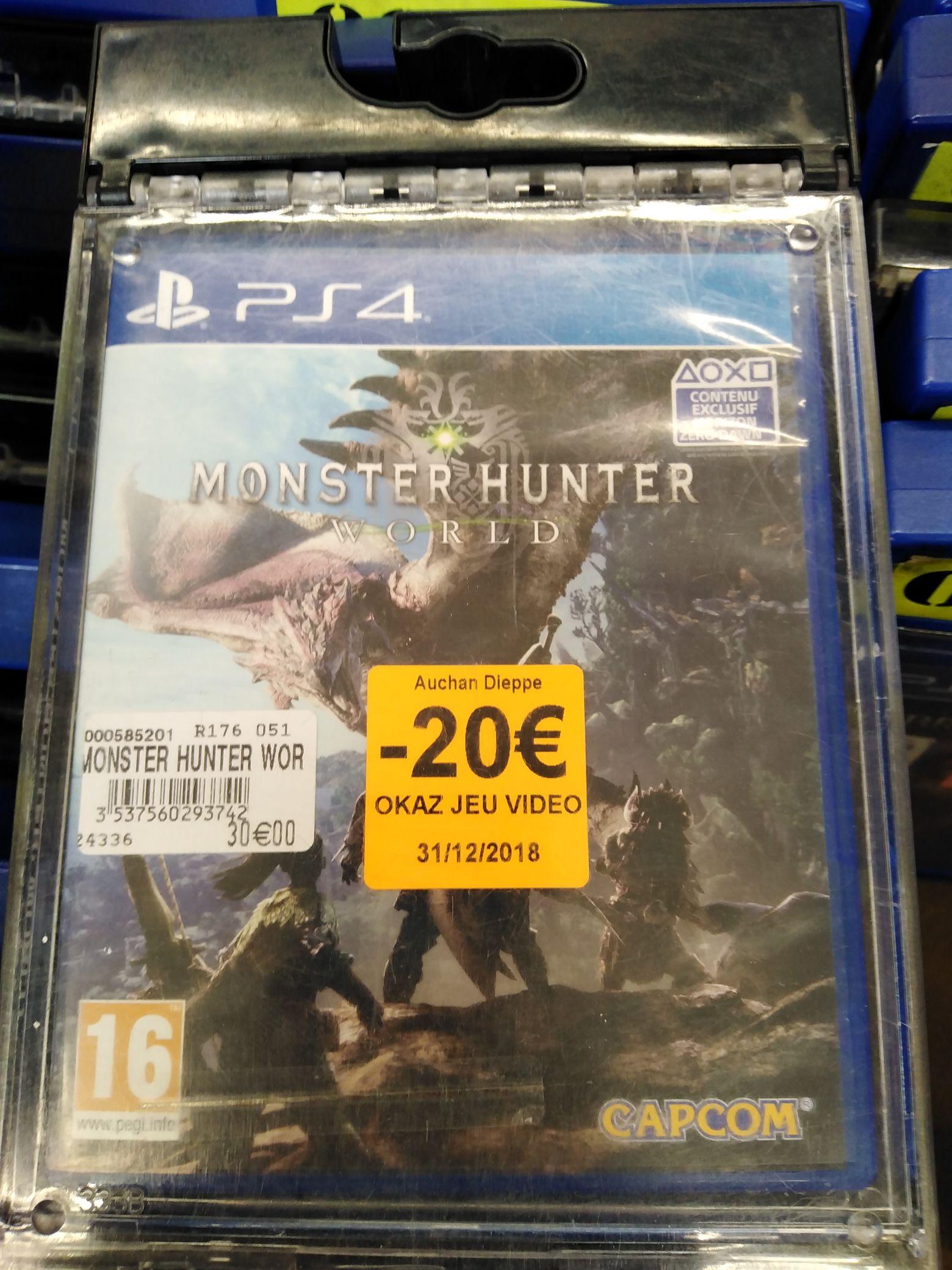 Sélection de jeux PS4/3DS d'occasion en promotion - Ex : Monster Hunter World à 10€ (Auchan Dieppe 76)