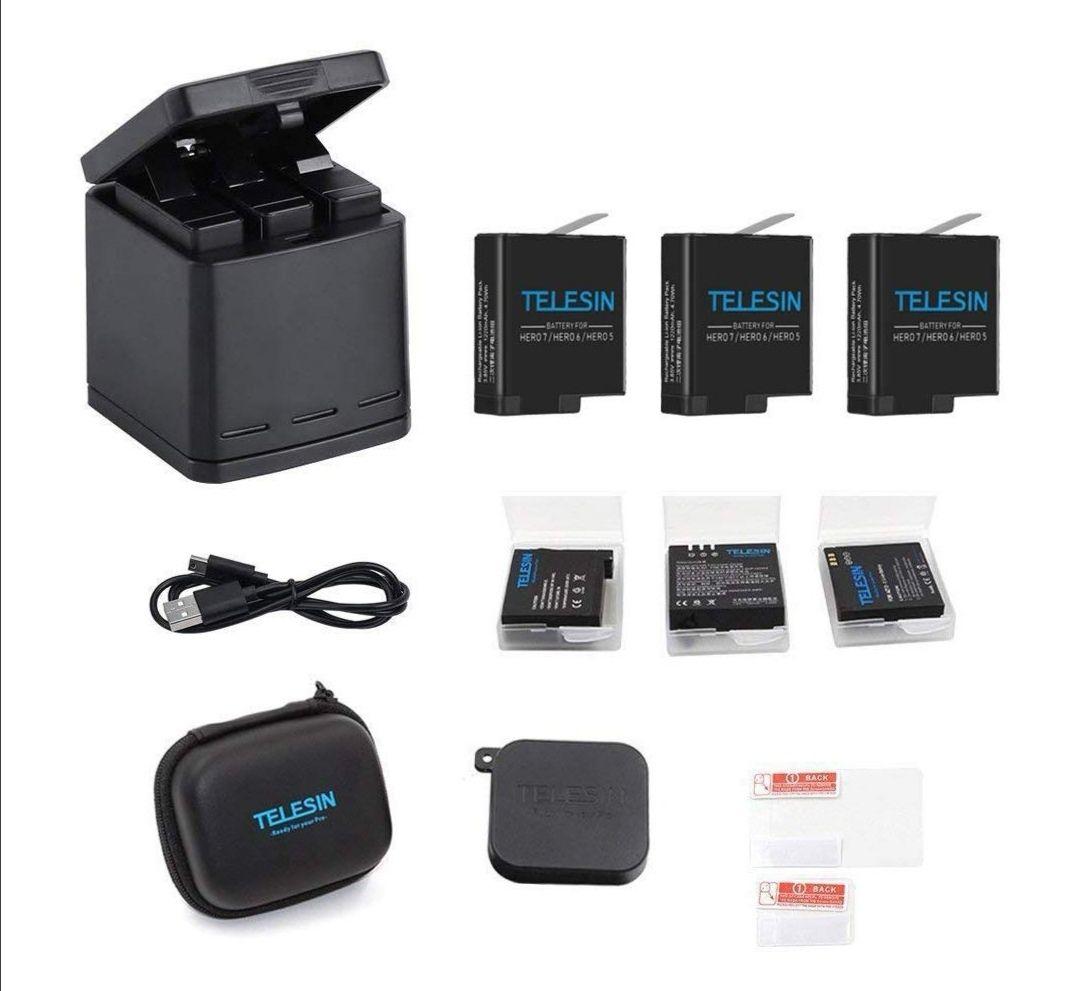 Kit 6-en-1 Telesin pour Caméras Sportives GoPro Hero 5 & 6 - Chargeur de Batteries + 3 Batteries + Accessoires (Via Coupon - Vendeur Tiers)