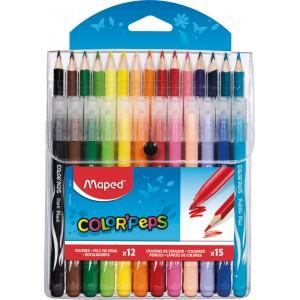 Pochette de 15 Crayons de Couleur & 12 Feutres Jungle Maped Color'Peps (Via 2.31€ sur Carte de Fidélité)