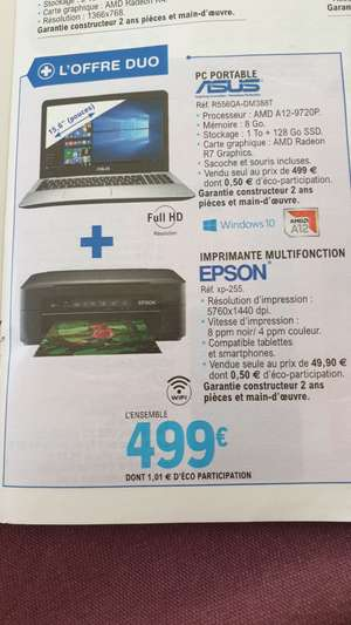 "Pc Portable 15.6"" Asus R556QA-DM388T - A12-9720P, SSD 128Go, HDD 1To, 8Go RAM, Windows 10 + Imprimante Espon XP-255 - (40, 47, 64 et 65)"