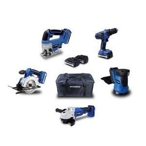 Pack de 5 outils Hyundai 18V - meuleuse + perceuse-visseuse + ponceuse + scie circulaire + scie sauteuse + 2 batteries (1.5 et 4.0 Ah)