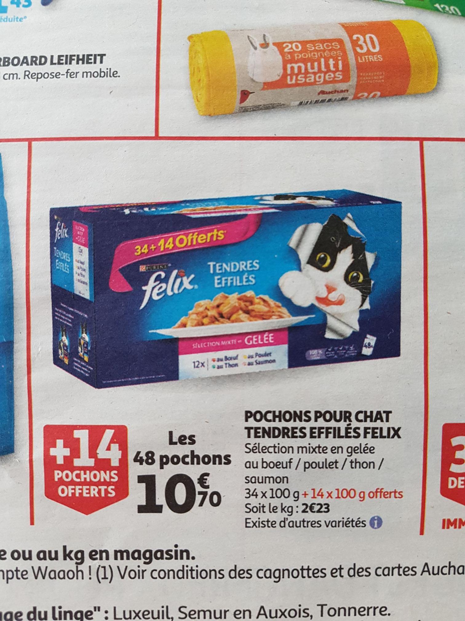 Paquet de 48 pochons de nourritures pour chat Felix Tendre Effilés - 48 X 100 gr