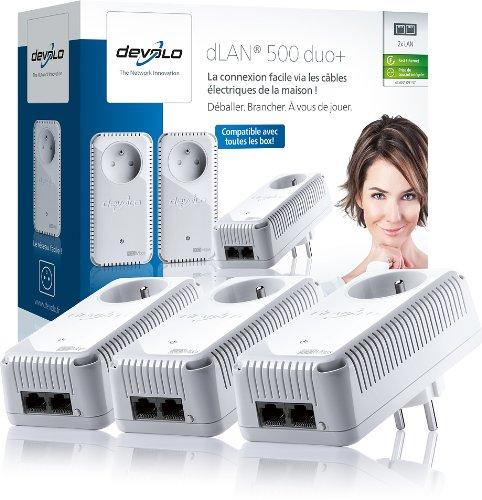 Pack de 3 adaptateurs CPL Devolo 9137 (dLAN 500 duo+ Network Kit) : 2 ports Fast Ethernet / prise gigogne intégrée