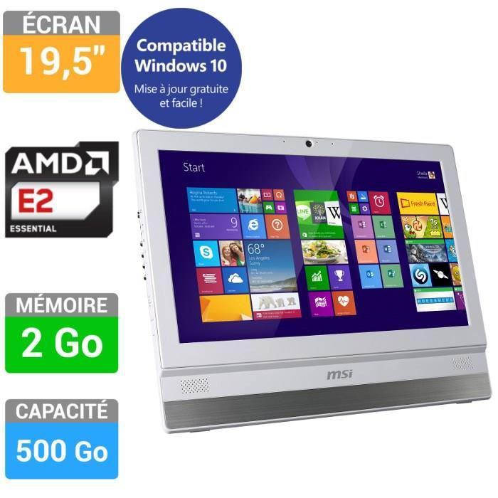 """PC tout-en-un 19.5"""" MSI Adora20 5M-012EU (1600 x 900, AMD E2-6110 1.5 GHz, AMD Radeon R2, HDD 500 Go)"""