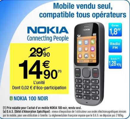 Téléphone Nokia 100 Noir