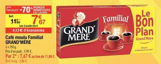 -70% sur le 2ème produit  Café moulu Familial Grand'Mère