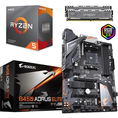 Kit d'évolution PC - processeur Ryzen 5 3600 (3.6GHz) + carte-mère Gigabyte B450 + kit RAM Ballistix Sport LT (16Go) + 3 mois Xbox Game Pass