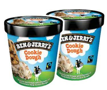 Lot de 2 Pots de crème glacée Ben & Jerry's - Cookie Dough ou Fudge Brownie, 415 ou 425 g