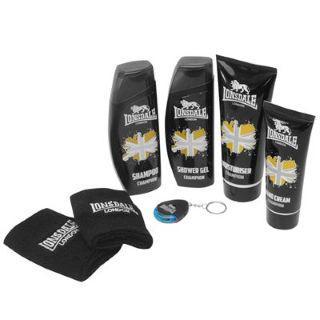 Ensemble Lonsdale Champion comprenant: Gel douche + Shampoing + Crème hydratante + Lavage de mains + 2 bandes de poignet + Porte-clés