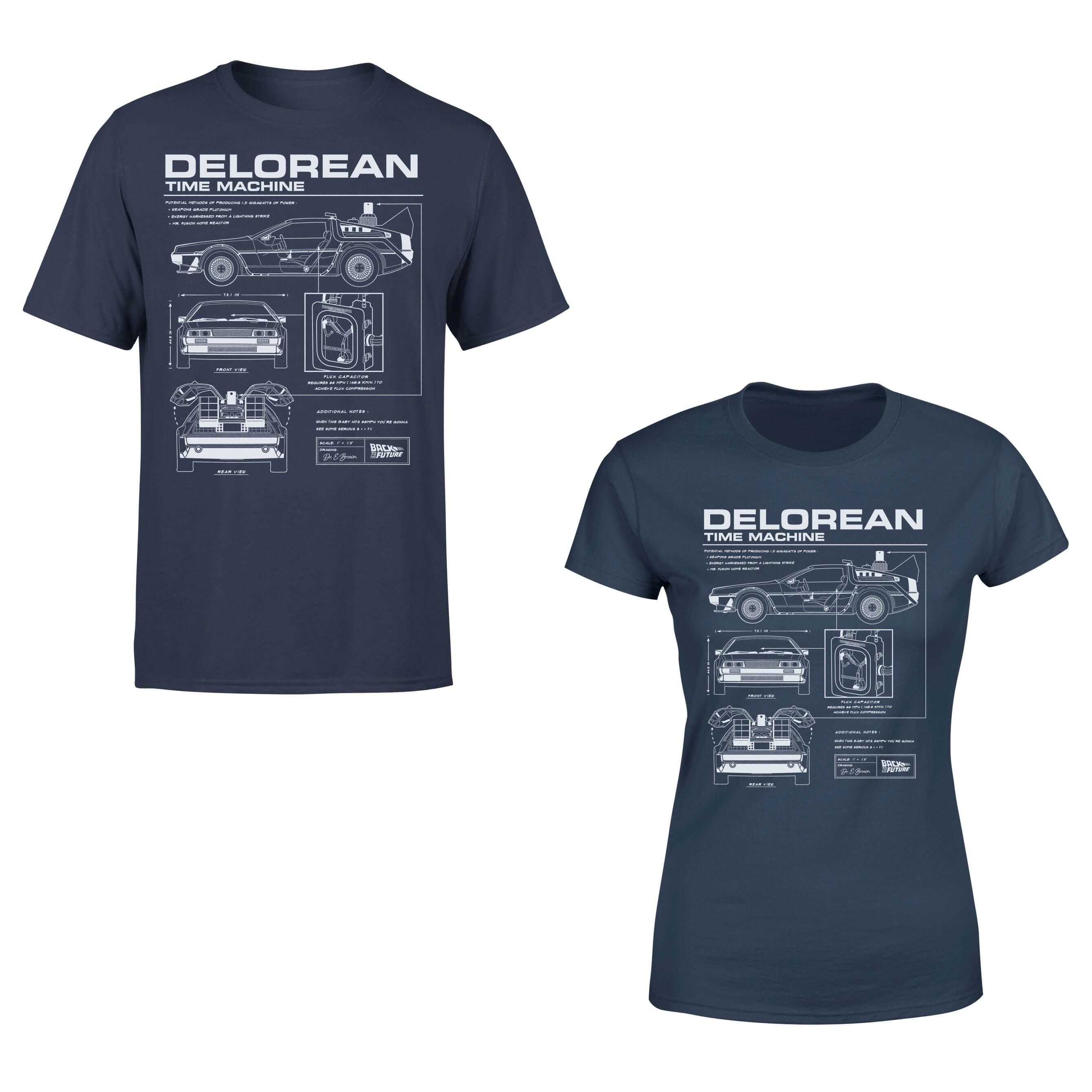 40% de réduction sur une sélection de vêtements Retour vers le Futur - Ex : T-shirt DeLorean - Bleu (Homme ou Femme)