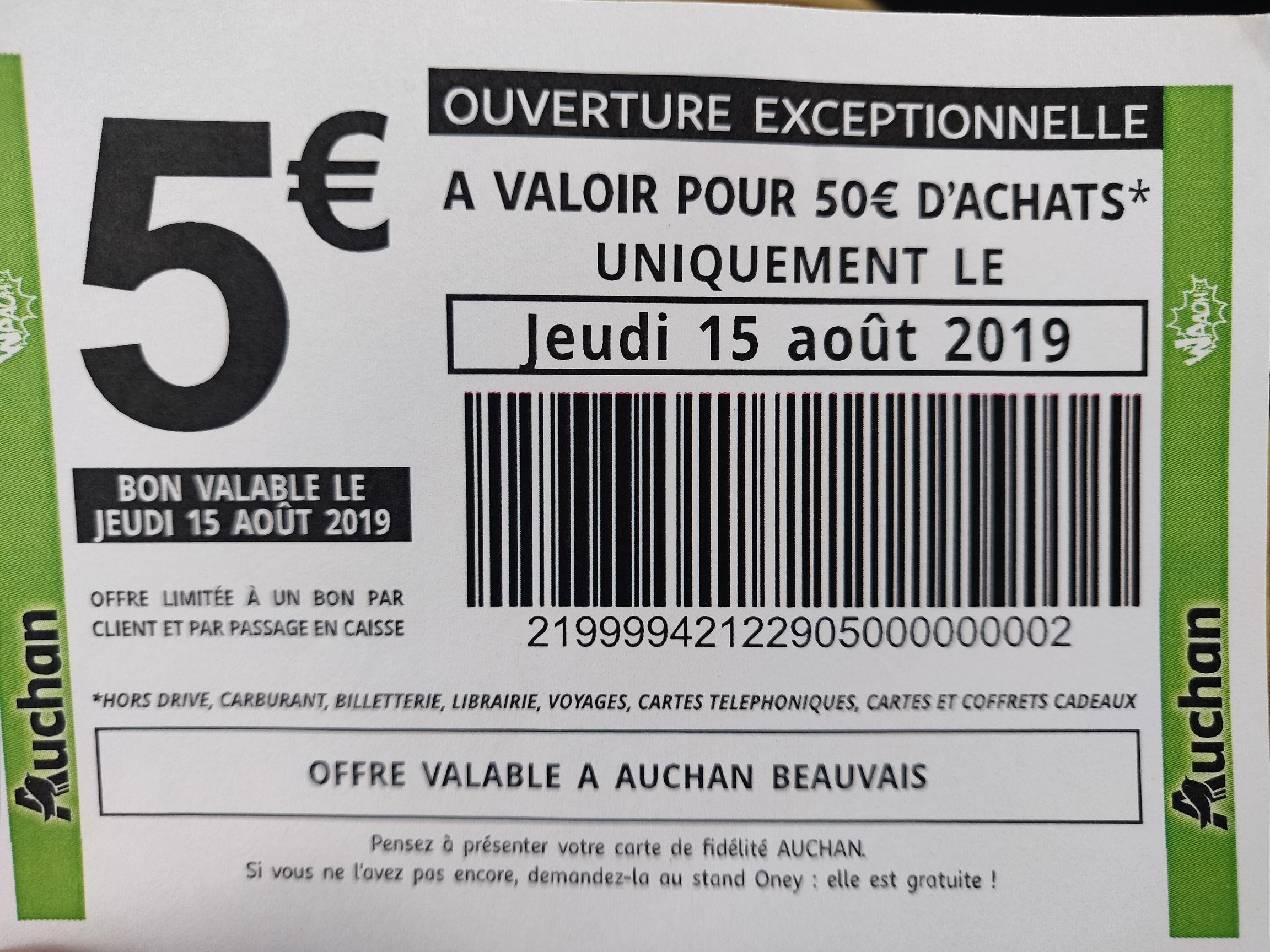 Bon de 5€ de réduction dès 50€ d'achat valable le jeudi 15 août - Beauvais (60)