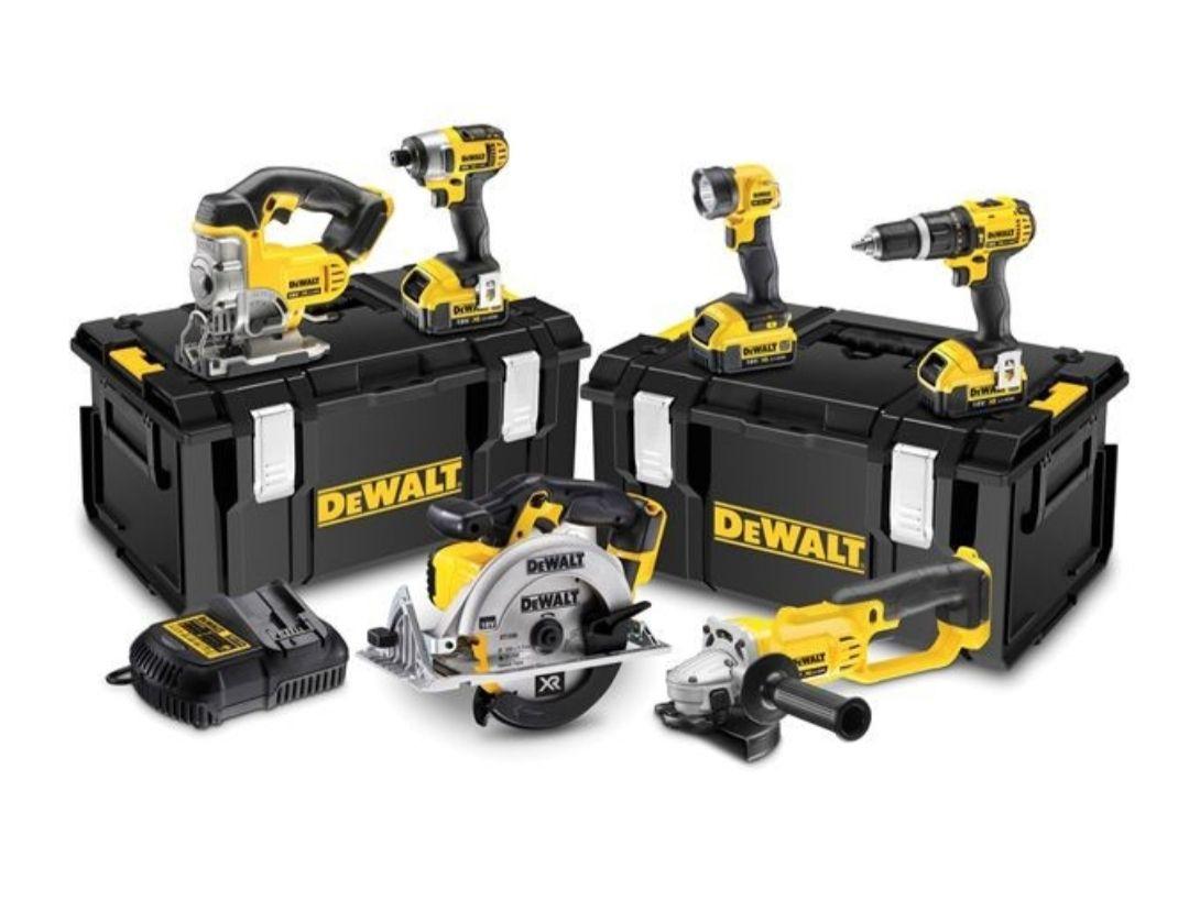 Kit Dewalt XR 18v 6 Pièce Cordless  + 3 Batteries 4.0Ah Li-Ion + 2 Tstak Case