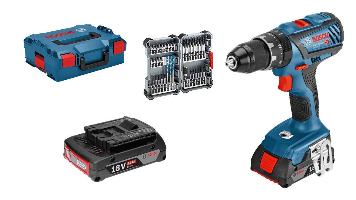 Pack Perceuse à percussion Bosch GSB 18V-28 + 2 batteries 2 Ah + 35 accessoires +  Coffret L-Boxx