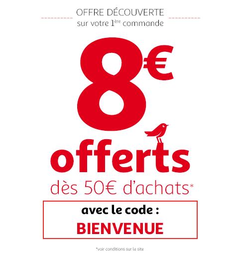 [Nouveaux clients] 8€ de réduction dès 50€ de courses