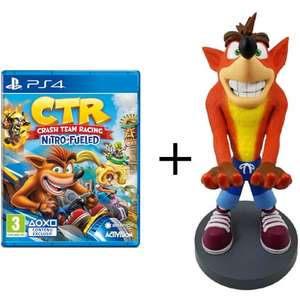 Pack figurine Cable Guys Crash Bandicoot XL (30 cm) + Crash Bandicoot N. Sane Trilogy ou CTR: Nitro-Fueled sur PS4, Switch et Xbox One