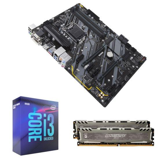 Kit de mise à jour PC - Intel Core I3 9100F - Carte mère Gigabyte B360 HD3 - Kit mémoire RAM Ballistix Sport LT 8Go (4Gox2, 2666 Mhz CL16)