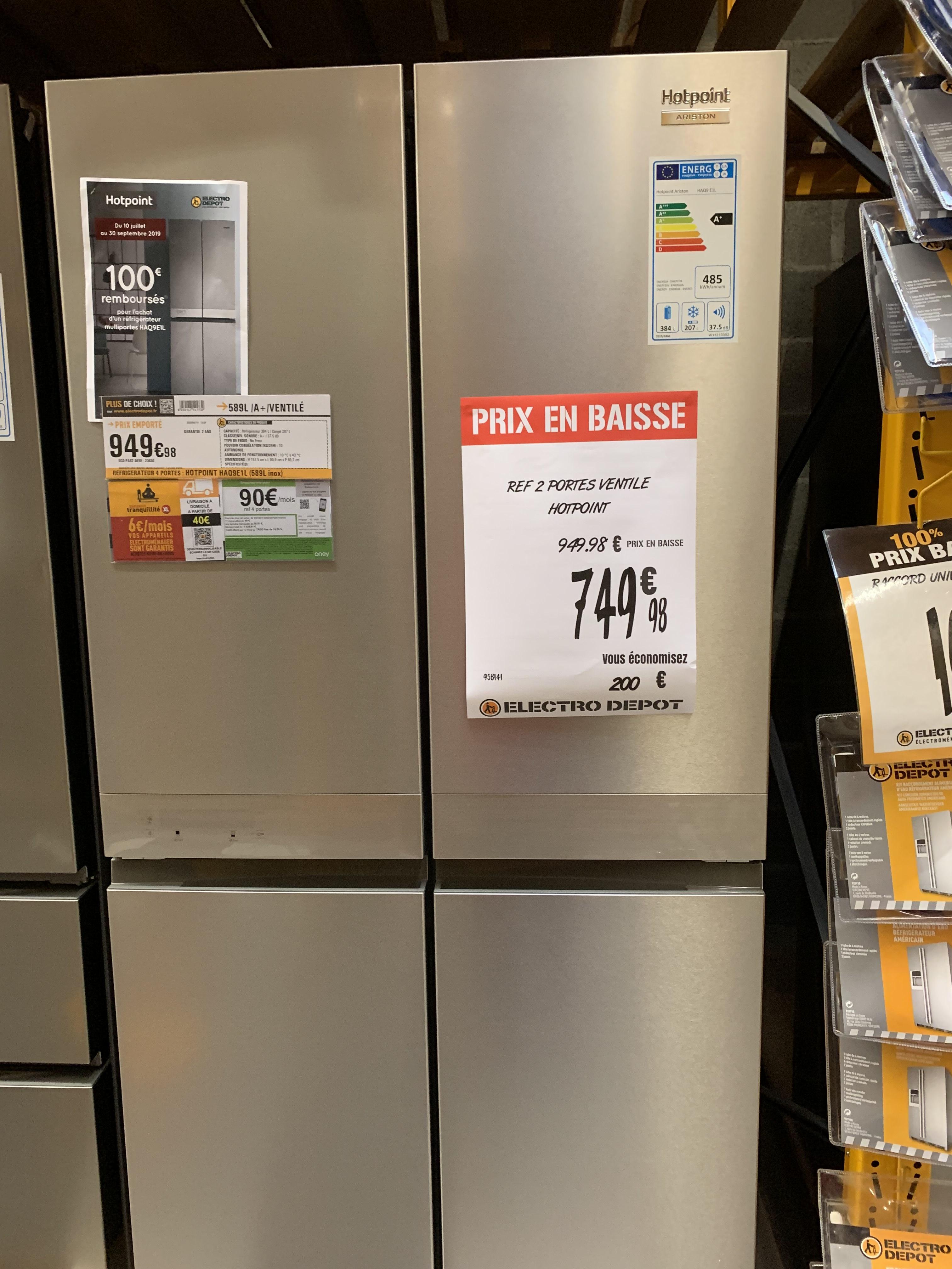 Réfrigérateur 4 portes Hotpoint HAQ9E1L - 591 L, Inox, A+ (via ODR de 100€) -  Colomiers (31)
