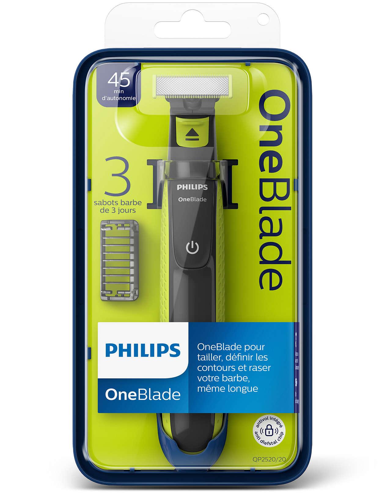 Rasoir électrique Philips OneBlade - avec 3 sabots barbe de 3 jours