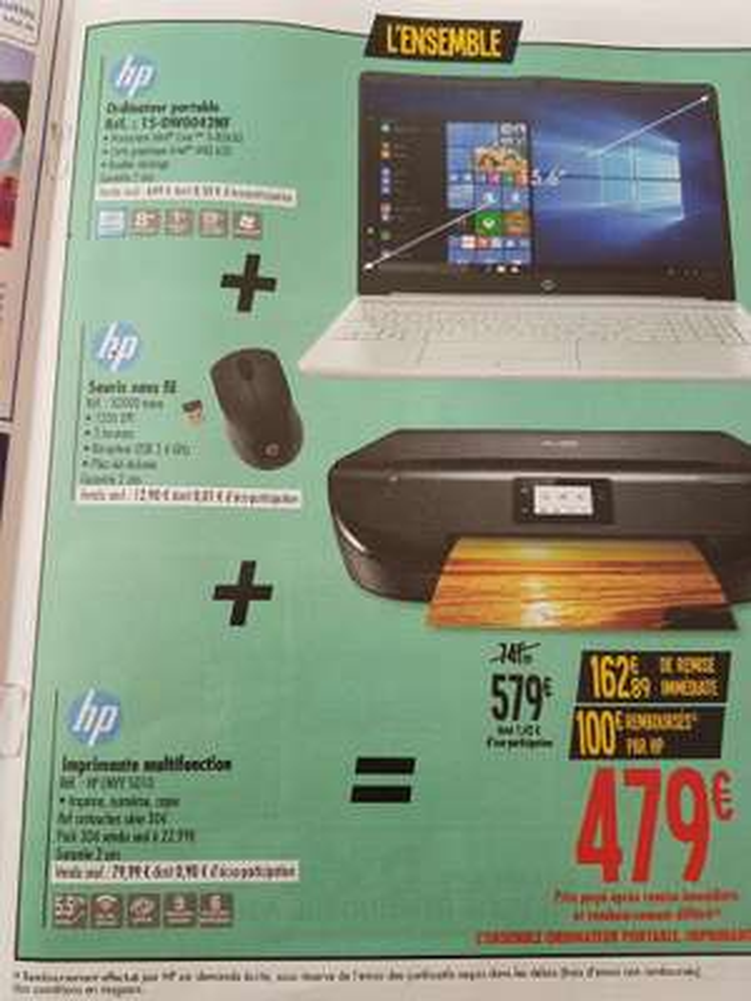 "PC portable 15.6"" HP 15-dw0042nf (i5-8265U, 8Go RAM, 1To + 128Go SSD) + imprimante HP Envy 5010 + souris sans-fil HP X3000 (via ODR de 100€)"