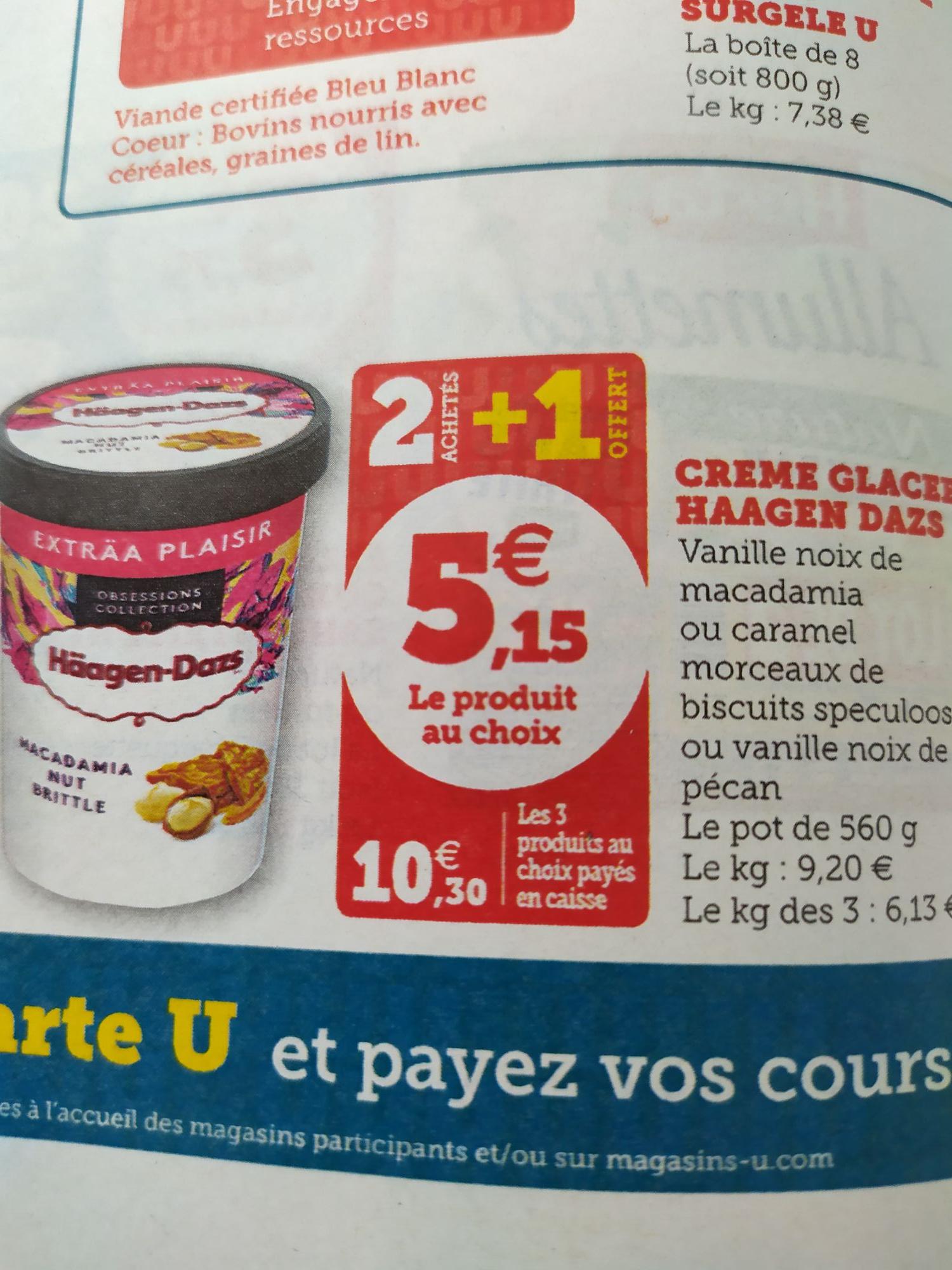 3 Pots de Crème Glacée Häagen-Dazs, 3 x 560G - Bretagne, Pays de la Loire, Nouvelle-Aquitaine