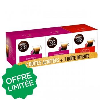 Pack Nescafé Dolce Gusto - 2 Boîtes de 16 Capsules Espresso + 1 Boîte 16 Capsules Espresso Genero, on achète 3 pack, 3 boites gratuite en +