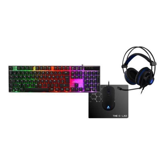 Pack The G-Lab Combo Gallium - casque audio Korp 140 + clavier KeyZ + souris (3200 dpi) + tapis de souris