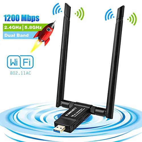 Clé Wi-Fi SumGott - avec 2 antennes, 1200 Mb/s, 2.4 / 5 GHz (vendeur tiers)