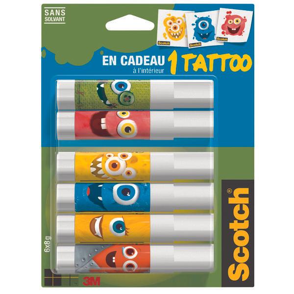 Sélection de fournitures scolaires en promotion - Ex: Lot de 6 tubes de colle blanche Scotch (Via 2,03 € sur la carte Fidélité)