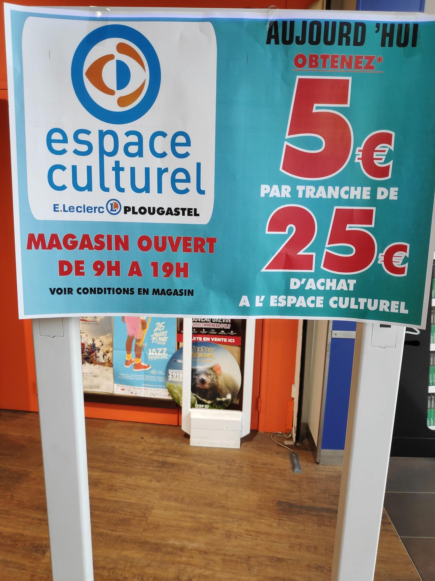 5€ offerts en bon d'achat par tranche de 25€ d'achat en magasin - Plougastel (29)