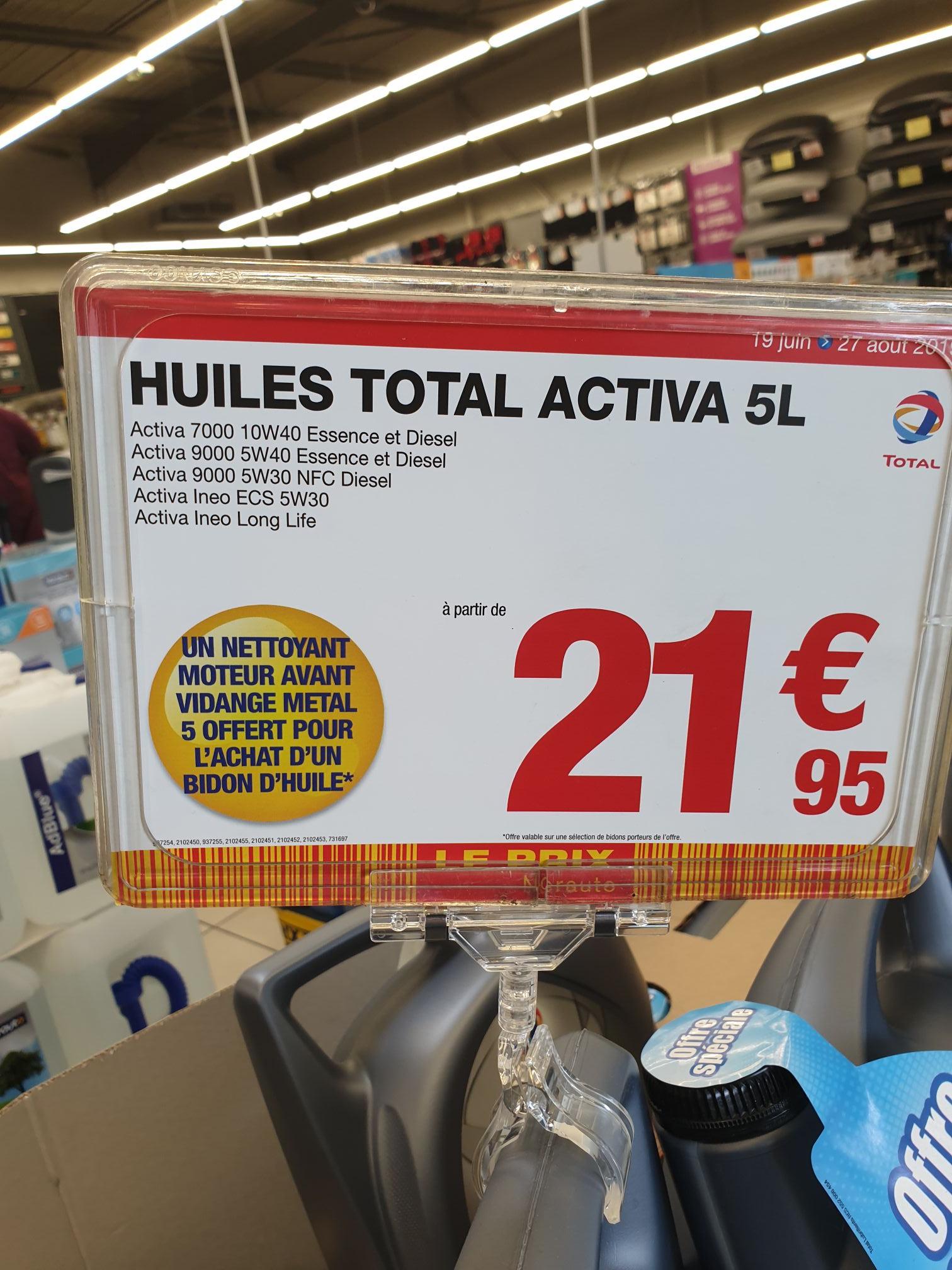 Bidon d'huile moteur Total Activa 5L + Nettoyant Moteur à partir de 21.95€ - Argenteuil (95)