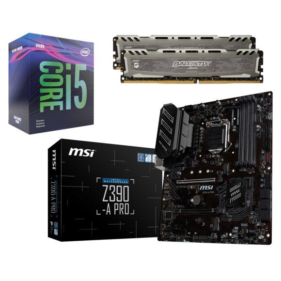 Kit évolutif : Processeur I5-9600KF + Carte mère Msi Z390-A Pro + Mémoire Crucial Ballistix Sport LT 16go DDR4 3000mhz Cas 15