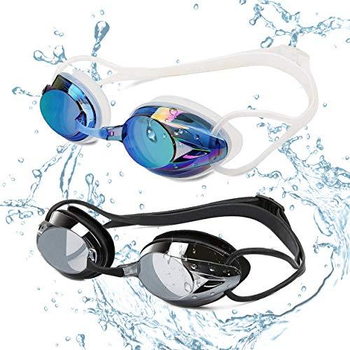 2 Paires de Lunettes de natation Yimidon - Protection UV, Antibuée, Longueur Réglable pour Adultes, Noir/Bleu (Vendeur tiers)