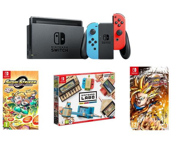 Console Nintendo Switch + Dragon Ball FighterZ + Sushi Striker + Nintendo Labo Toy-Con 1 Multi-kit
