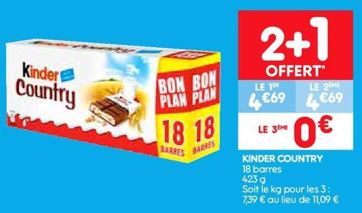 3 paquets de 18 Barres chocolatées Kinder Country