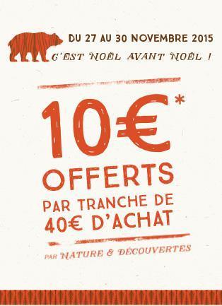 10€ offerts par tranche de 40€ d'achat