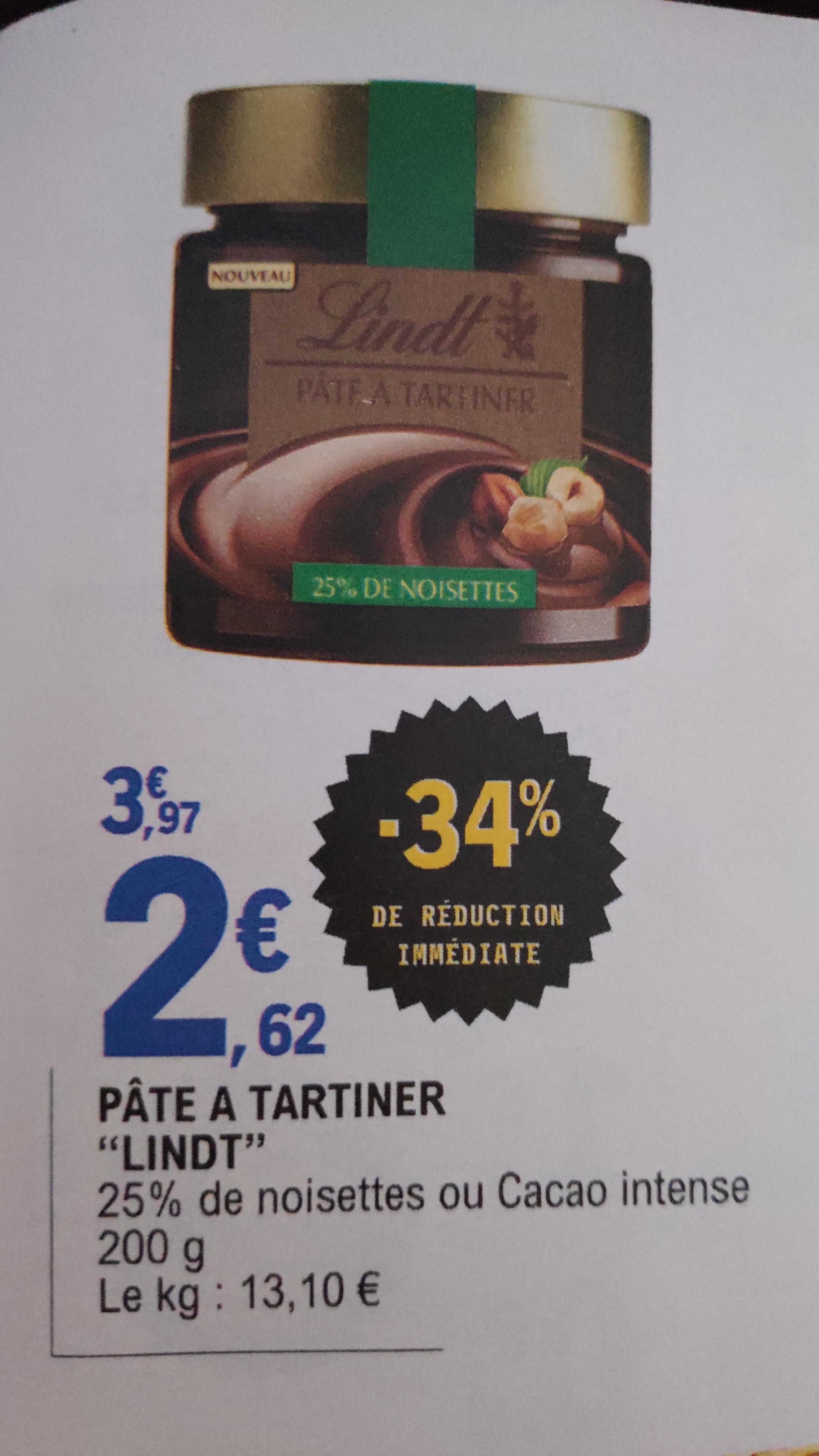 Pot de pâte à tartiner Lindt 25% Noisette ou Cacao Intense -  200g