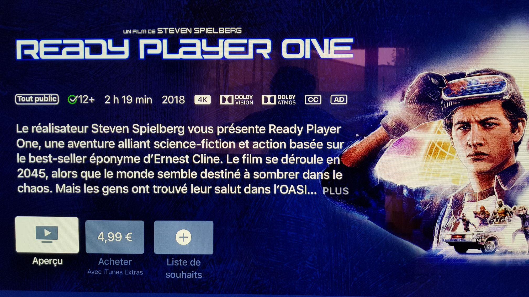 Selection de films en 4k à 4.99€ ex : Ready player one (Dématérialisé - iTunes)