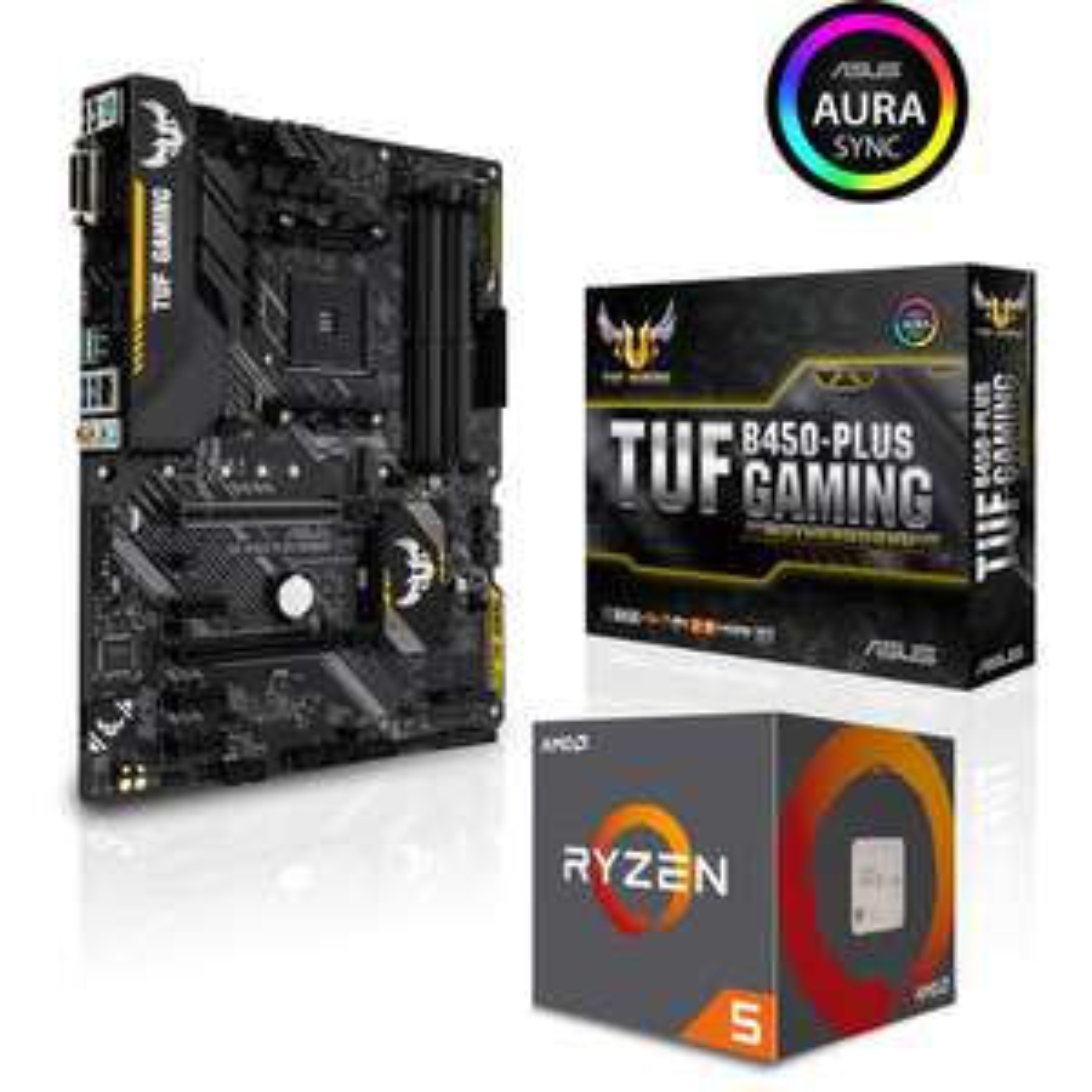 Kit processeur AMD Ryzen 5 2600 (3.4 GHz) + Carte mère Asus TUF B450 Plus Gaming - Socket AM4