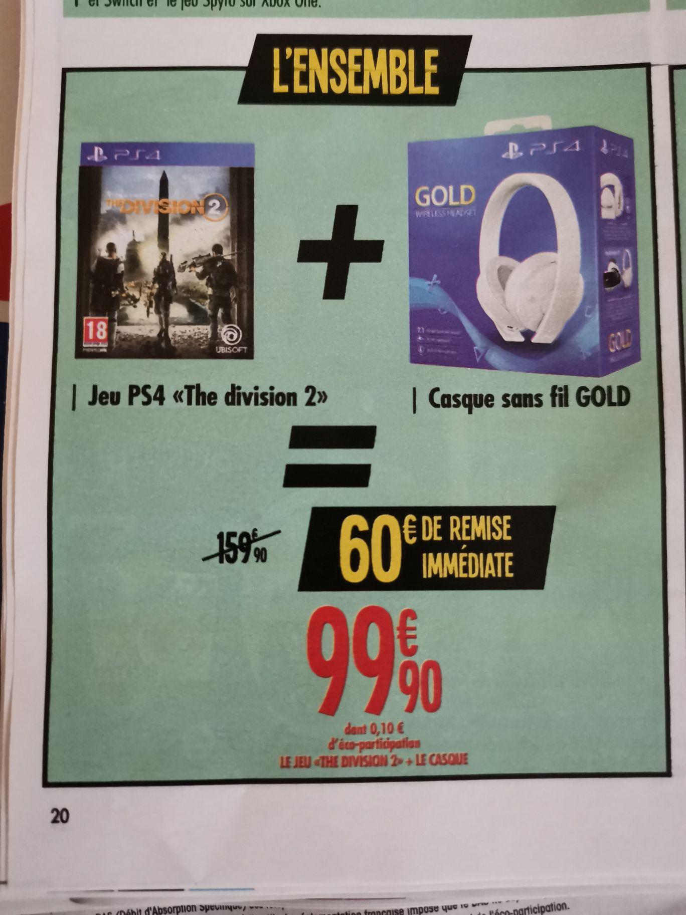 The Division 2 sur PS4 + Casque sans fil Gold