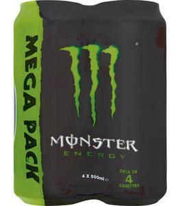 Lot de 3 packs de 4 boîtes de boisson énergisante Monster (12x50 cl)