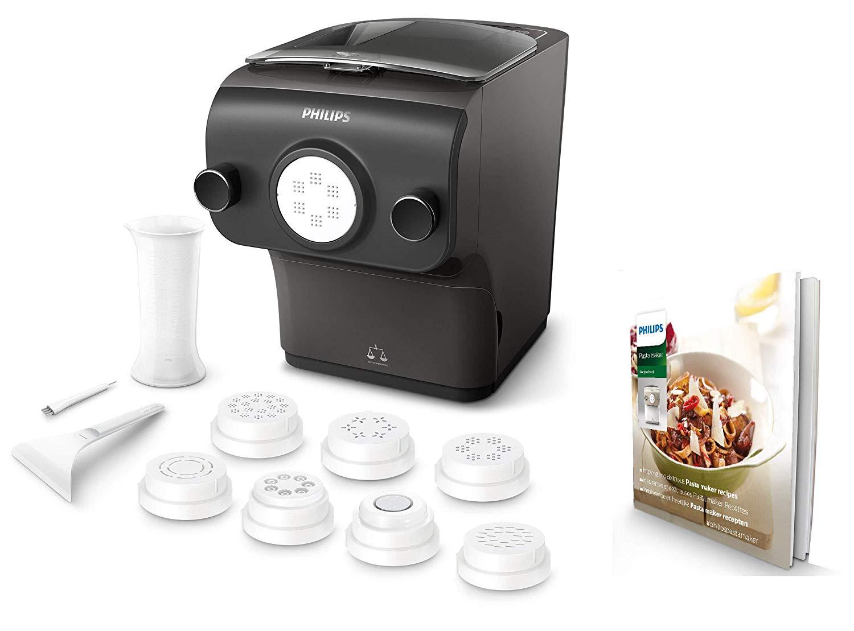 Machine à pâtes automatique Philips HR2382/10 - Balance intégrée, 8 disques de forme, Noir