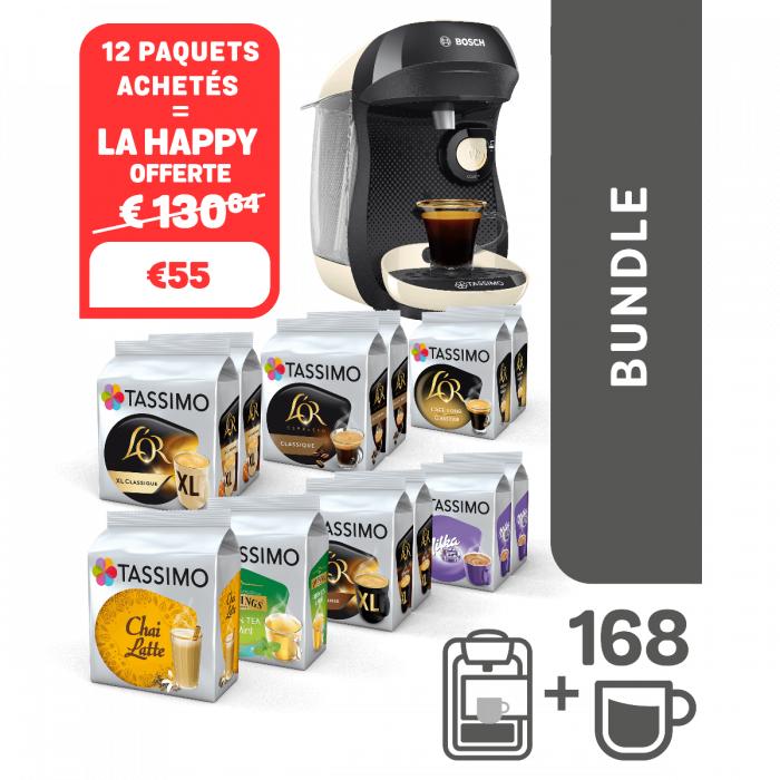 Cafetière à capsules Bosch Tassimo Happy + lot de 12 paquets de dosettes de café (différents types)