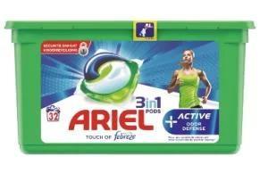 Boite de capsules de Lessive Ariel 3-en-1 Active + (Via 8,05 € sur Carte de Fidélité + BDR)