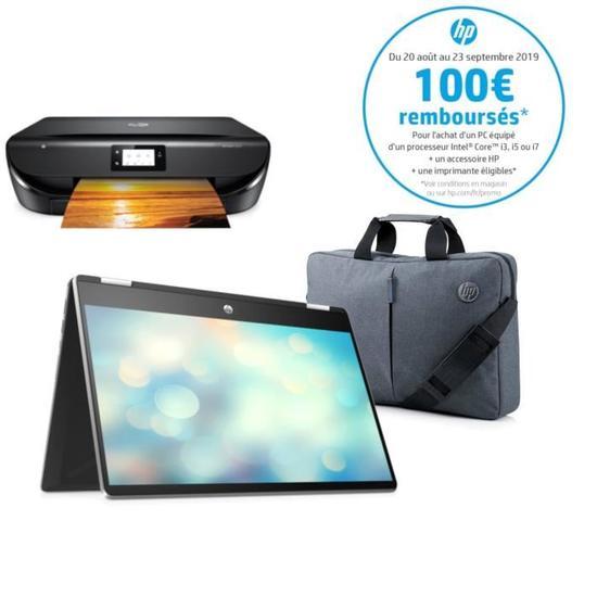 "PC Portable 14"" HP Pavilion x360 14-dh0043nf - FHD Tactile, i3-8145U ,RAM 8Go, SSD 128Go, W10 S + Imprimante + Sacoche (via ODR 100€)"